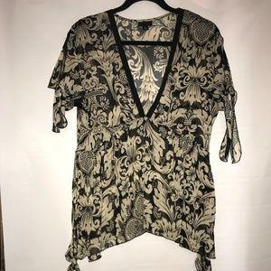 Anna Sui Floral Sheer Side Tie Top V Neck Sz M